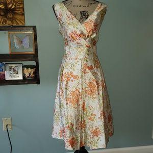 New Talbots Silk Tea Length Floral Surplice Dress